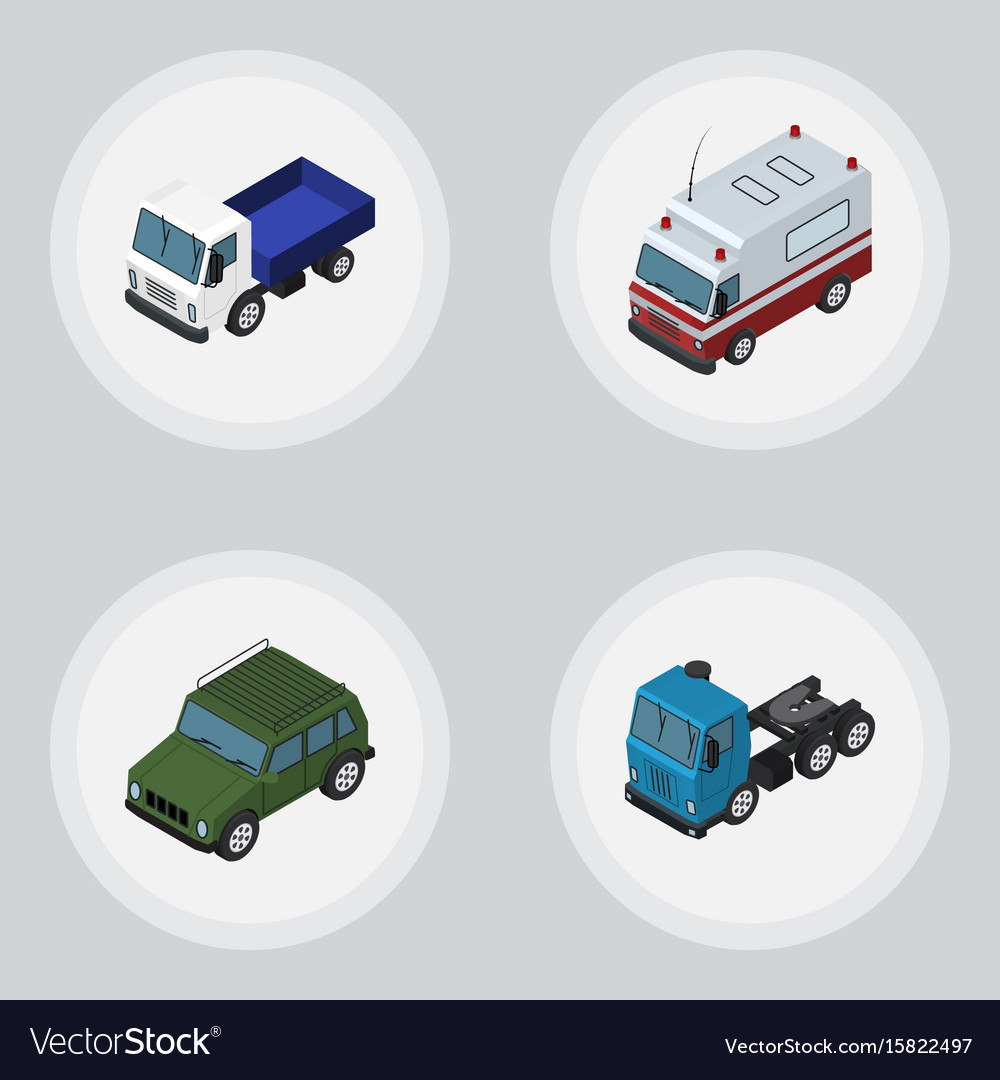 Isometric car set of truck armored first-aid and