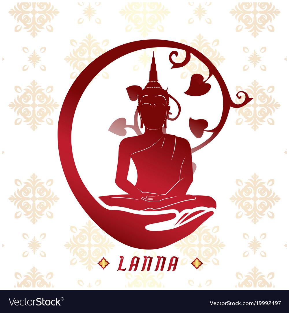Lanna buddha statue white background image