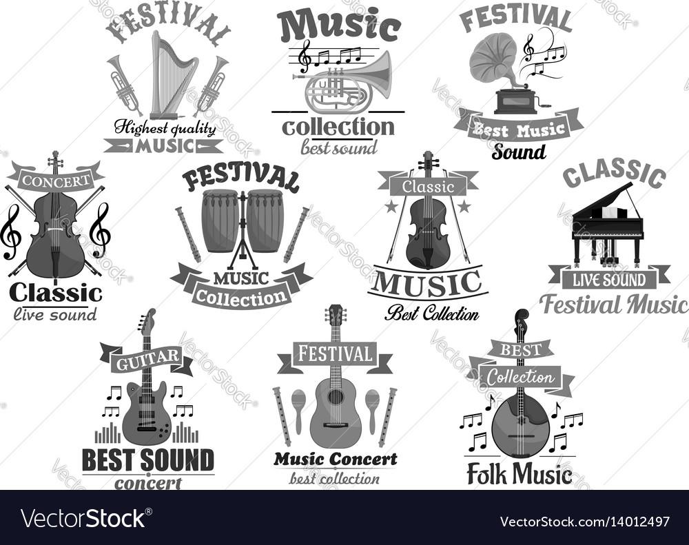Music instrument emblem for musical design vector image