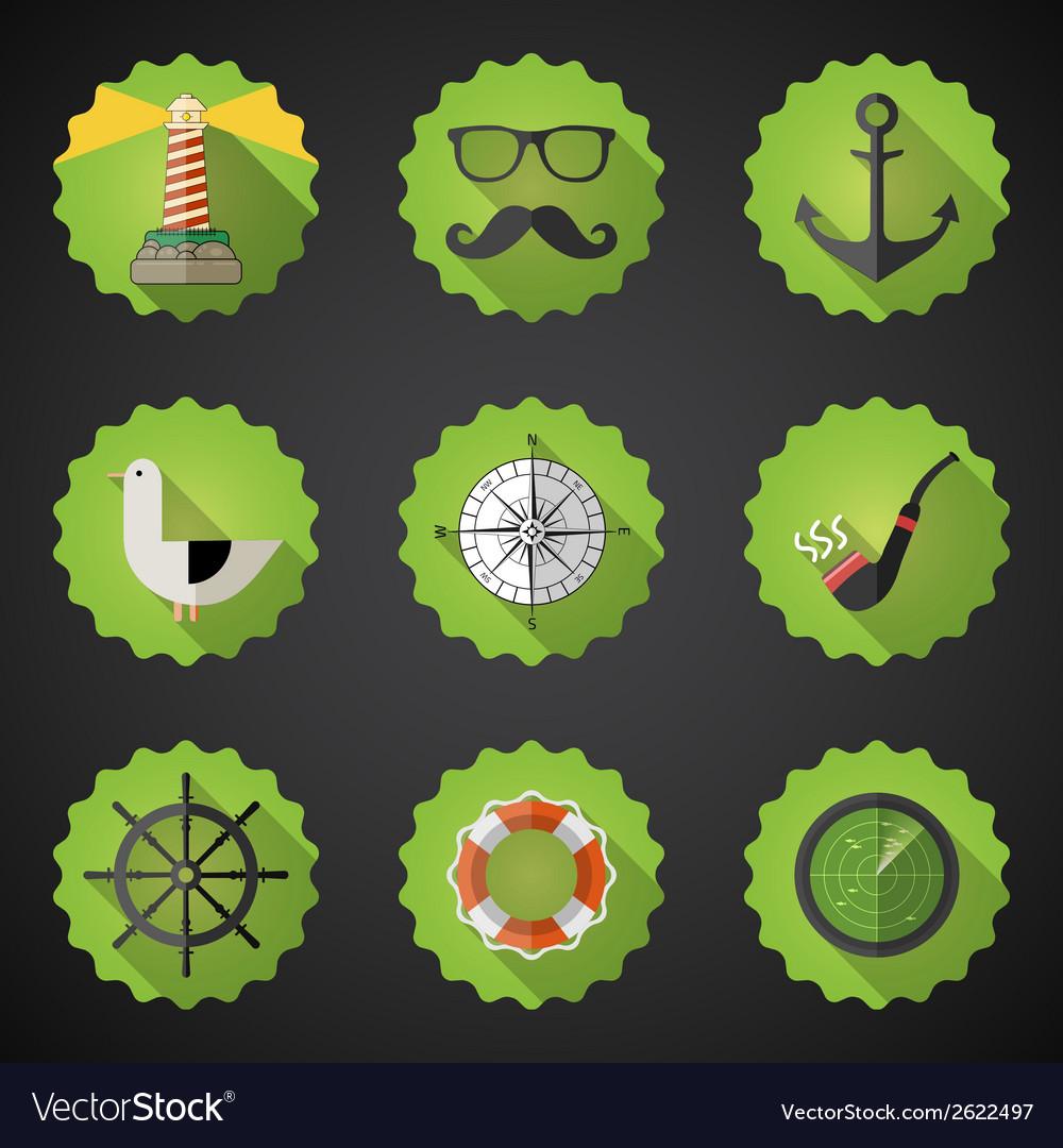 Navy Sailor Marine Flat Icon Set Include fish