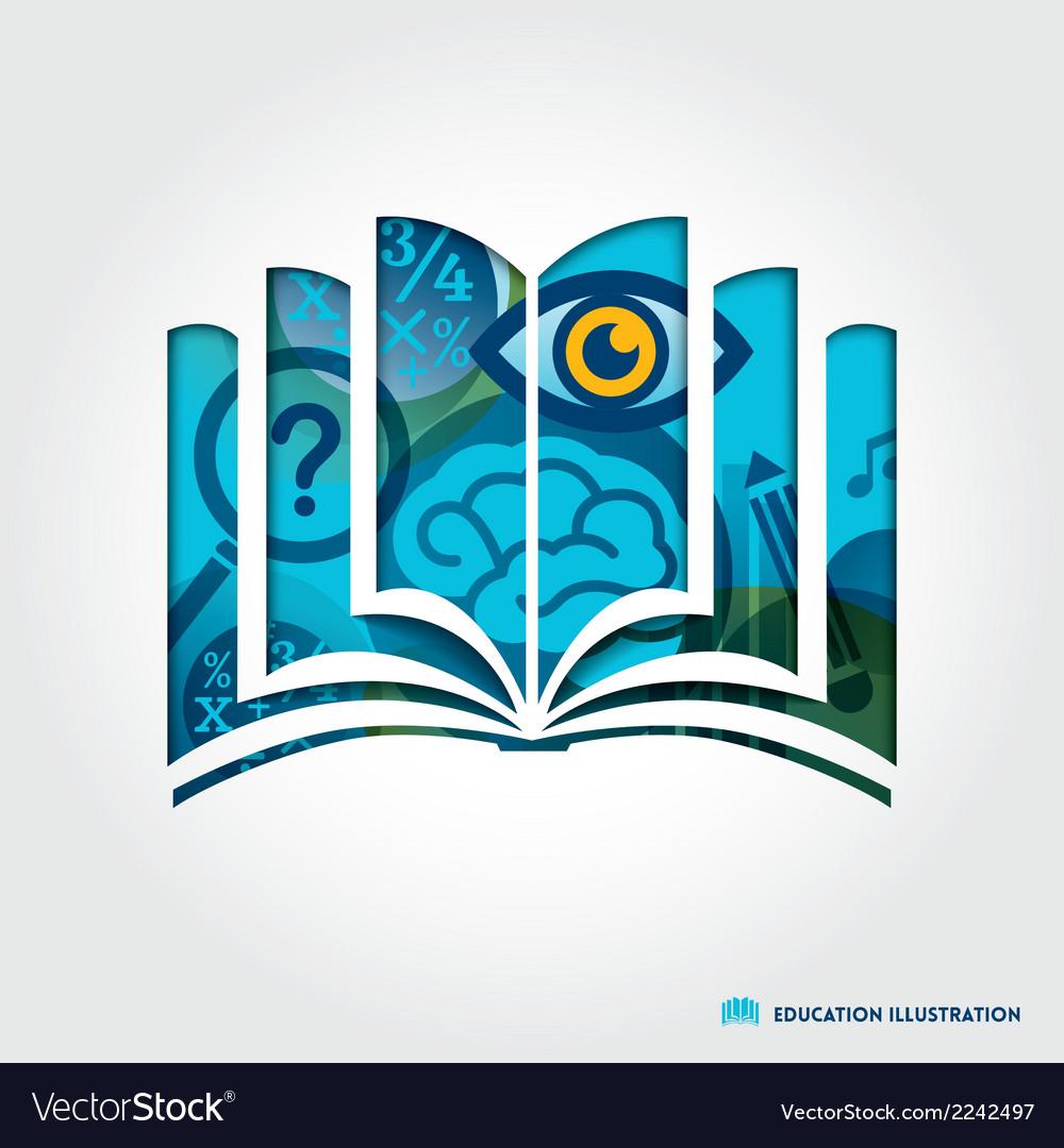 Open book symbol education concept vector image
