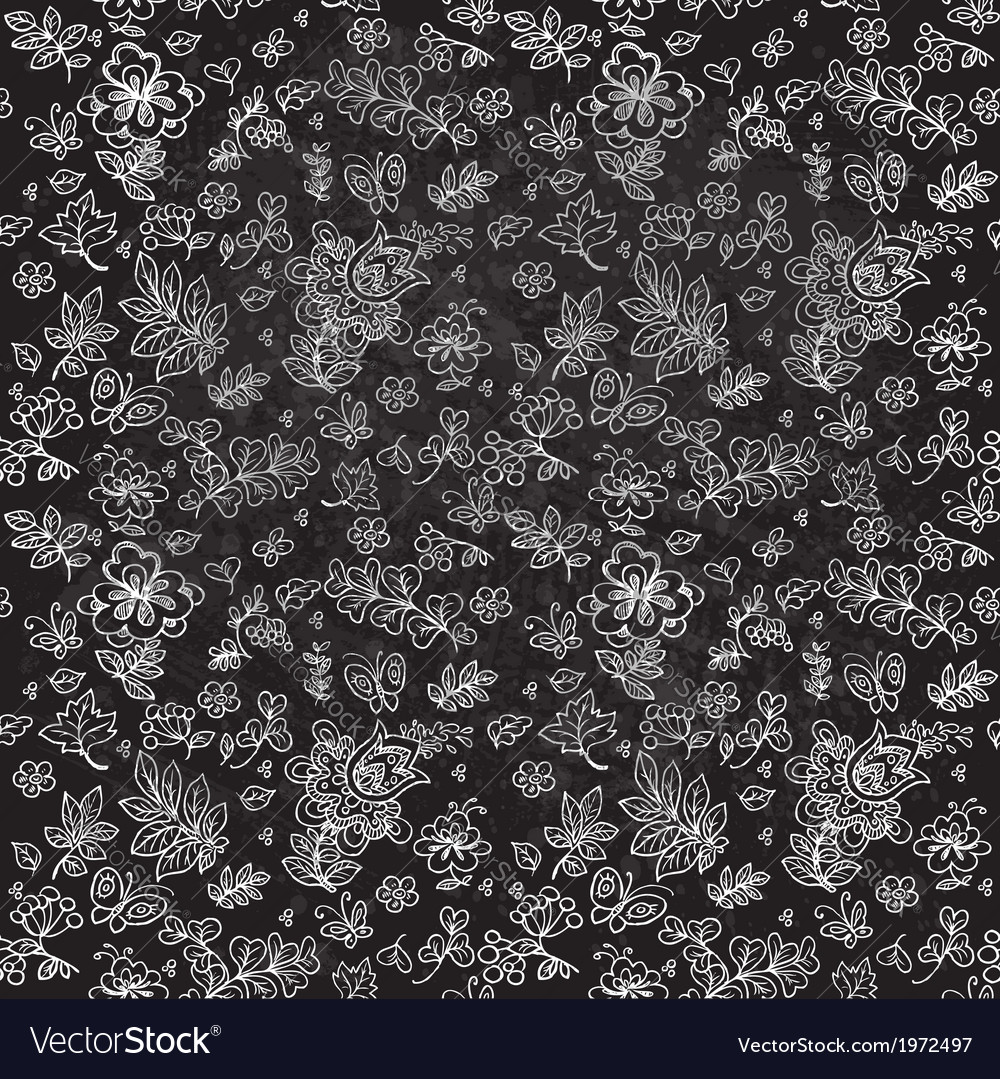 Seamless pattern of doodles flowers and twigs vector image