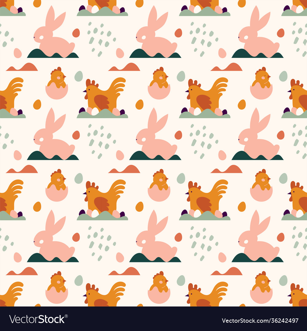 Seamless pattern spring and easter pattern with