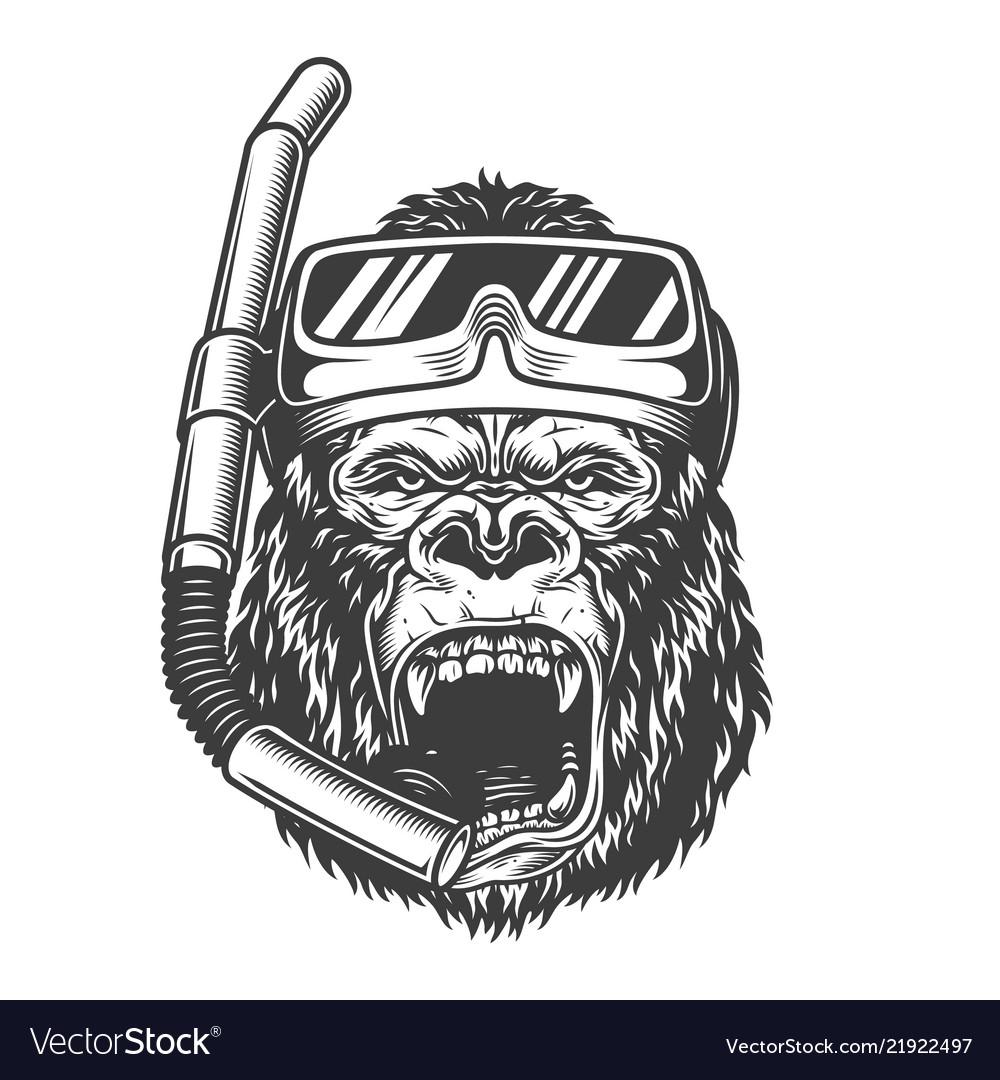 Vintage monochrome angry gorilla