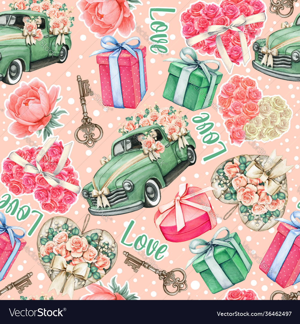 Wedding pink watercolor pattern cars roses