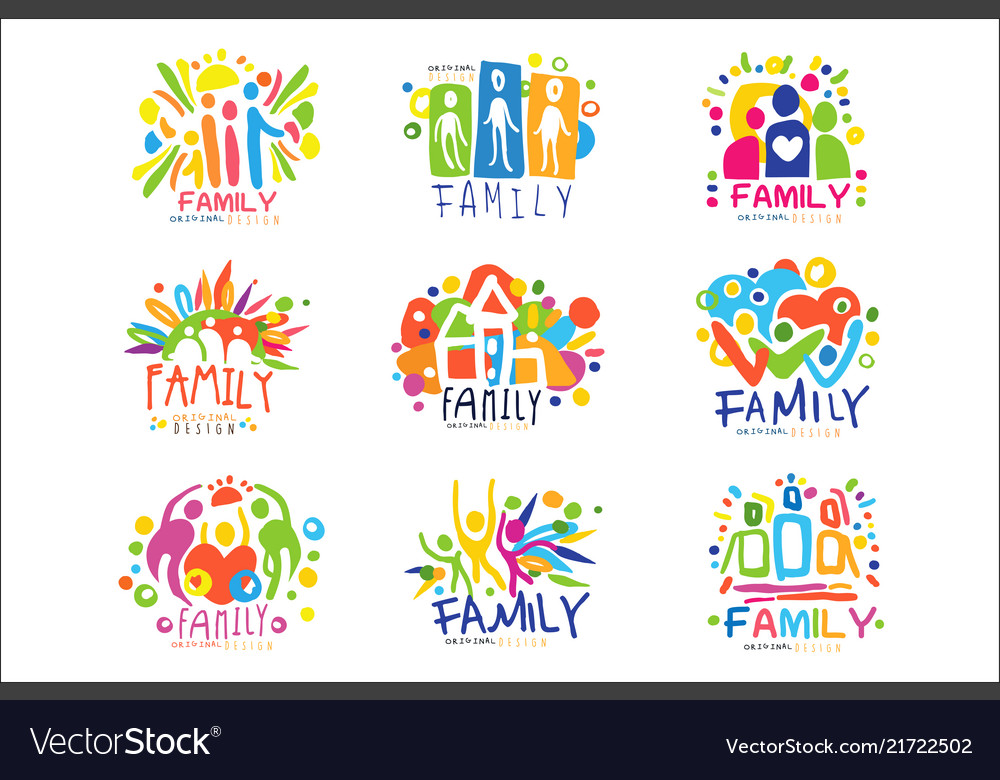 Family colorful labels original design set of