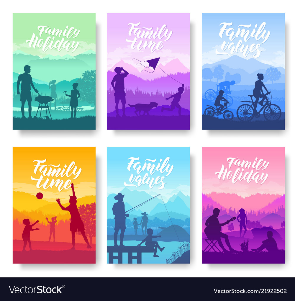 Family vacation with children in nature brochure