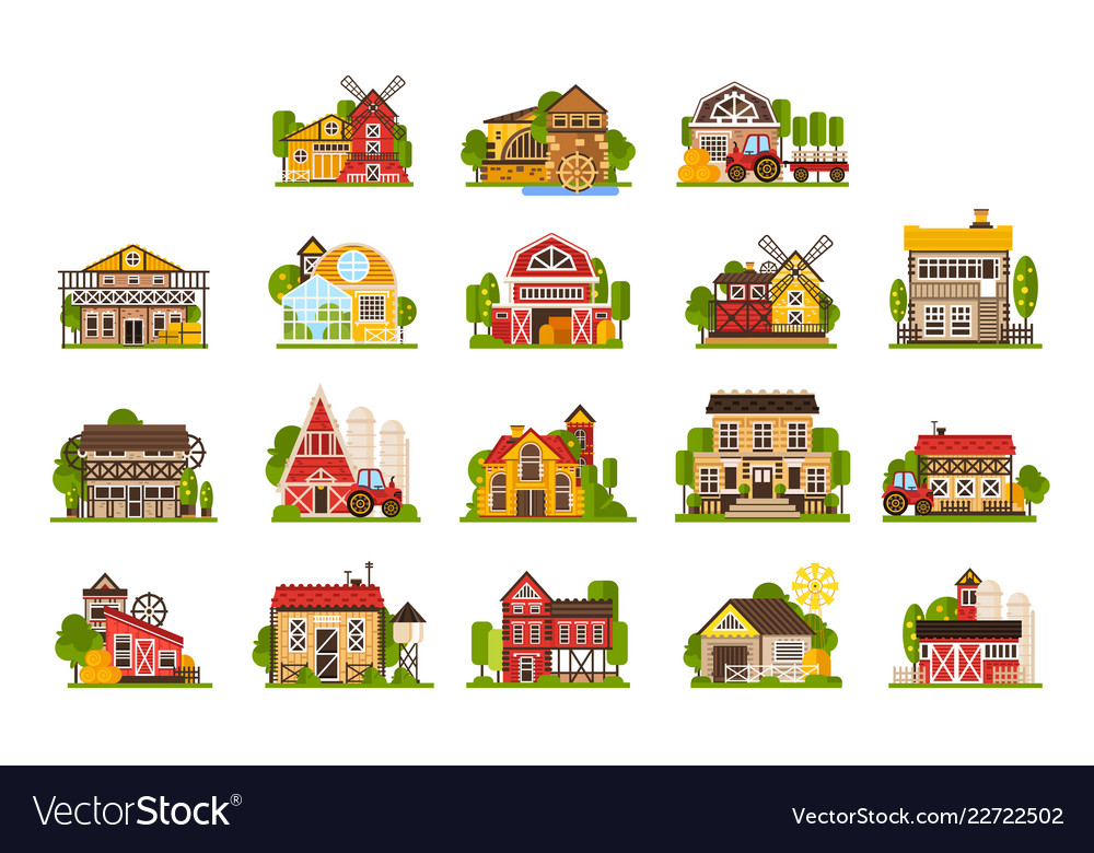 Farm houses and buildings set agriculture