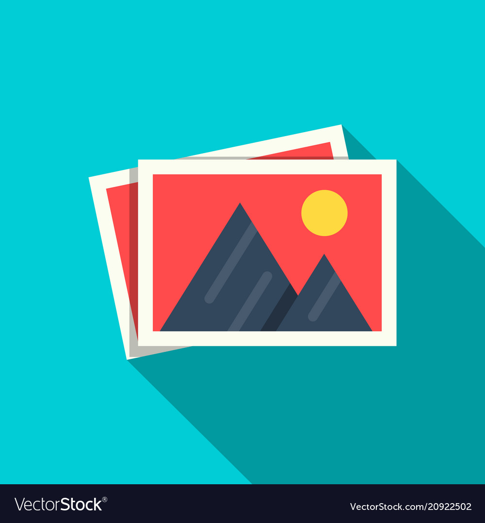 Flat pictures icon in flat stule with shadow vector image