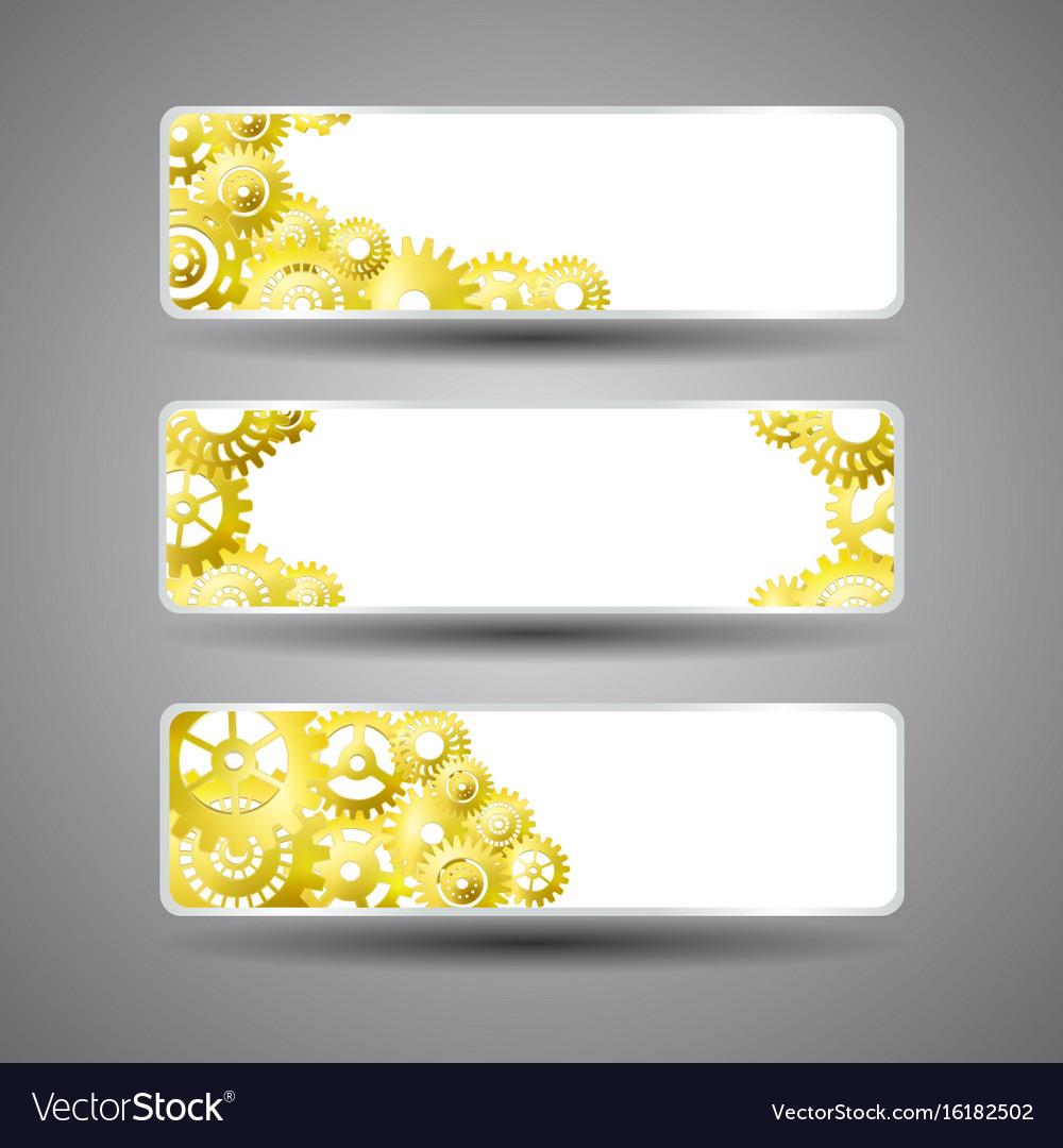 Golden gear banners set