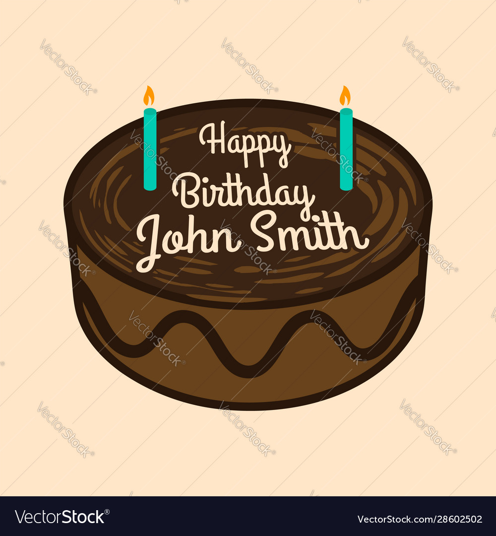 Sensational Happy Birthday Cake With Name Royalty Free Vector Image Personalised Birthday Cards Paralily Jamesorg