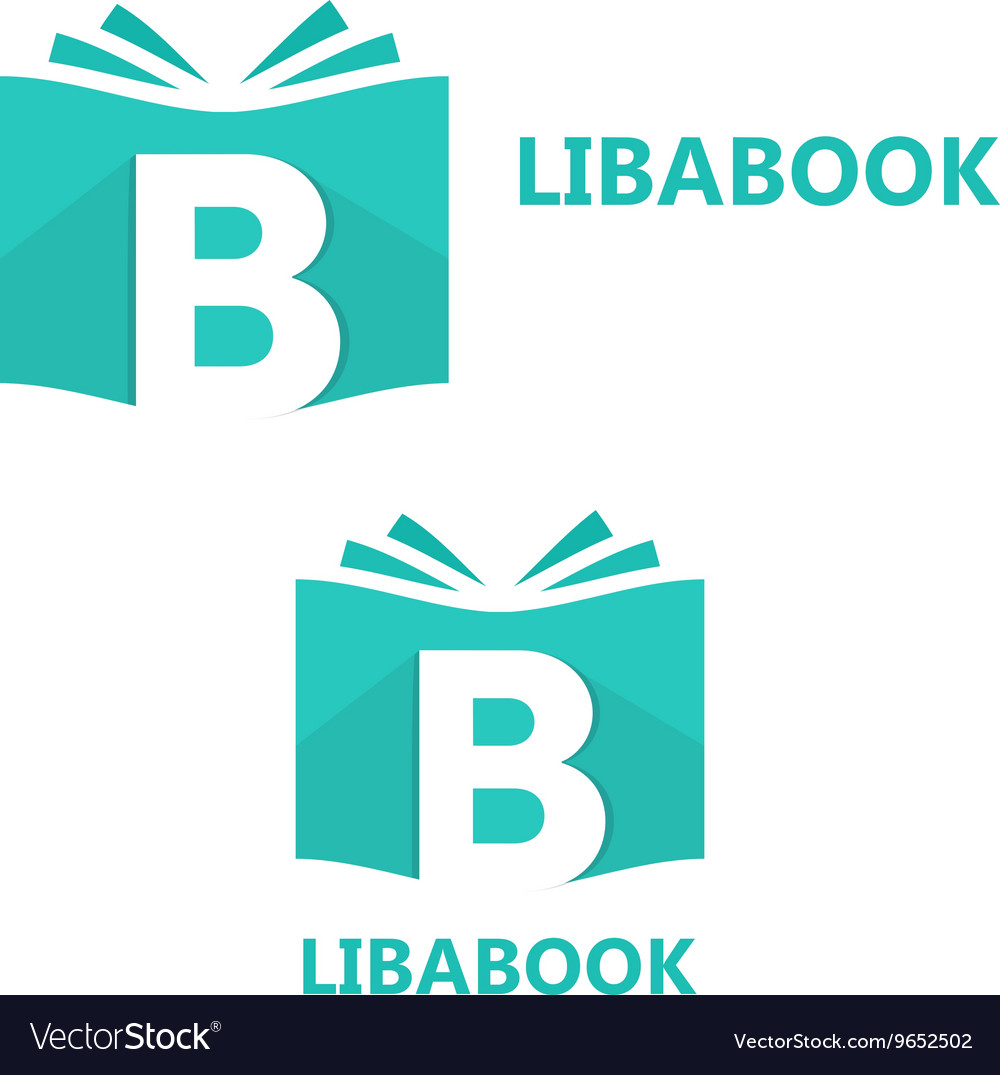 Logo combination of a book and letter b