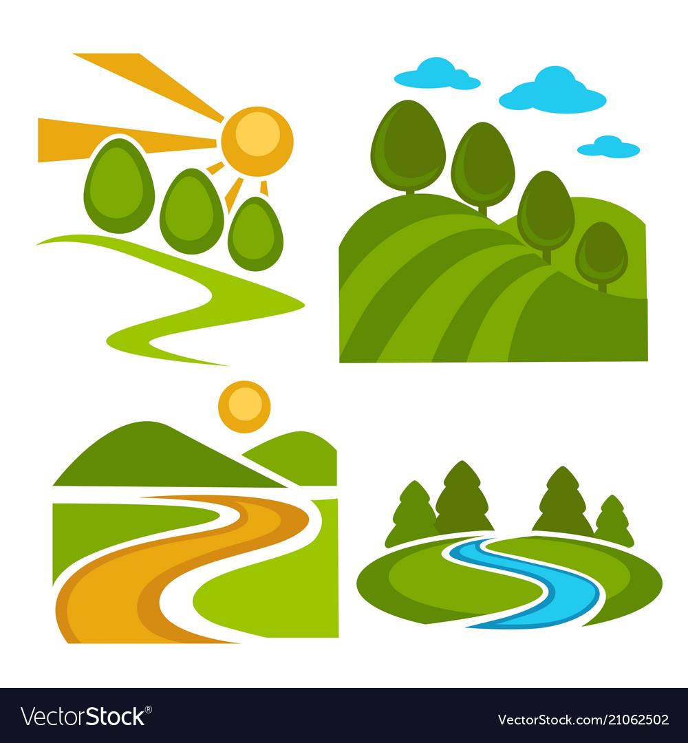 Nature landscape backgrounds set