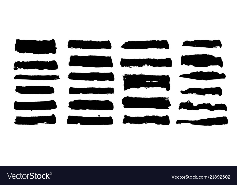 Painted grunge shapes black ink brush strokes