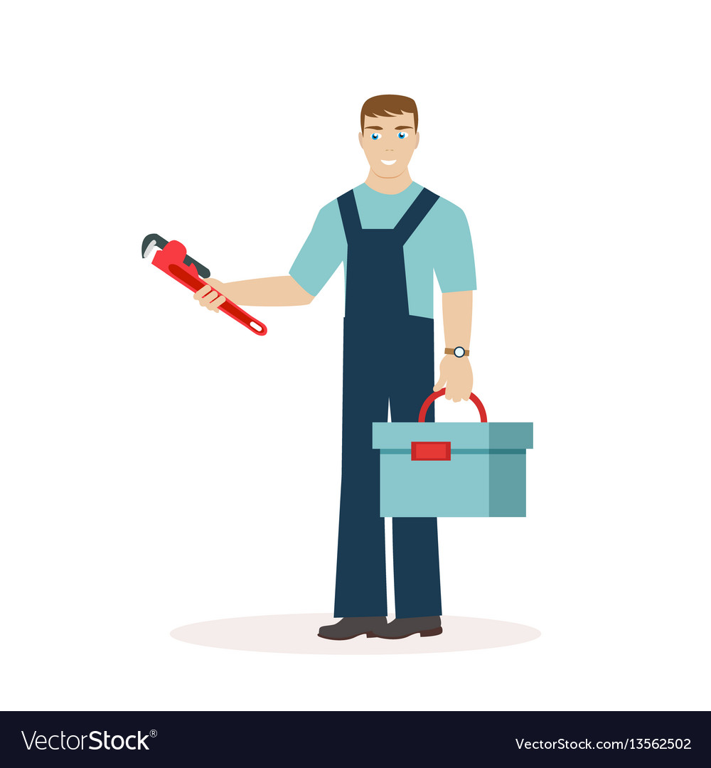 Plumber or mechanic with a wrench and a tool box