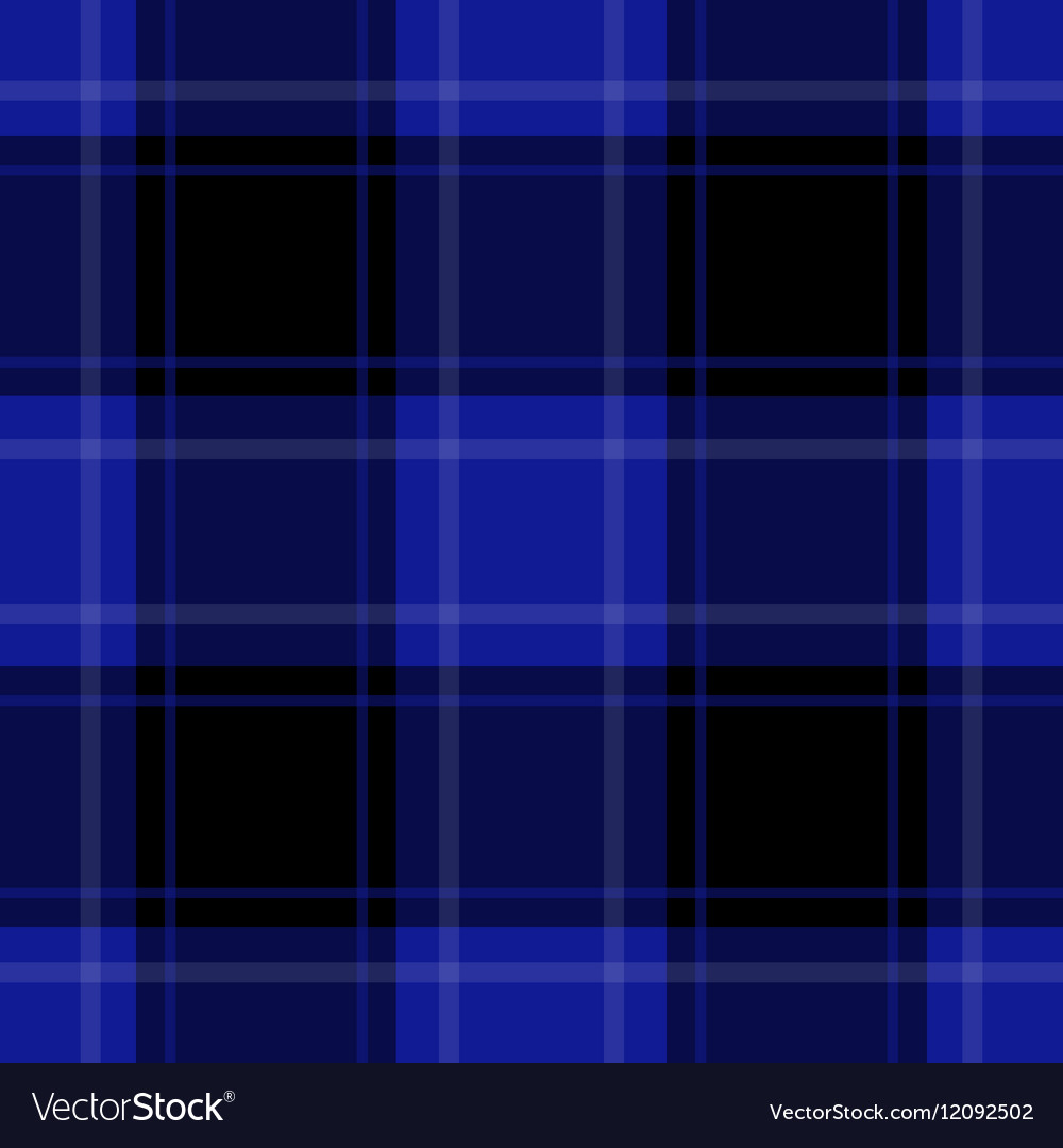 Seamless blue black tartan with white stripes