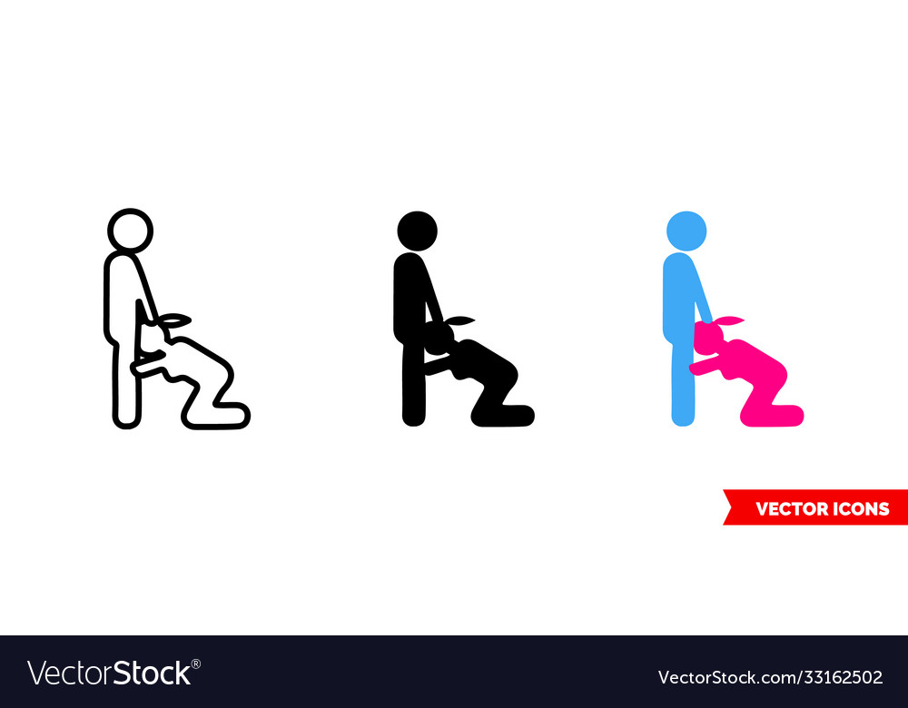 Sex blowjob icon 3 types color black and white