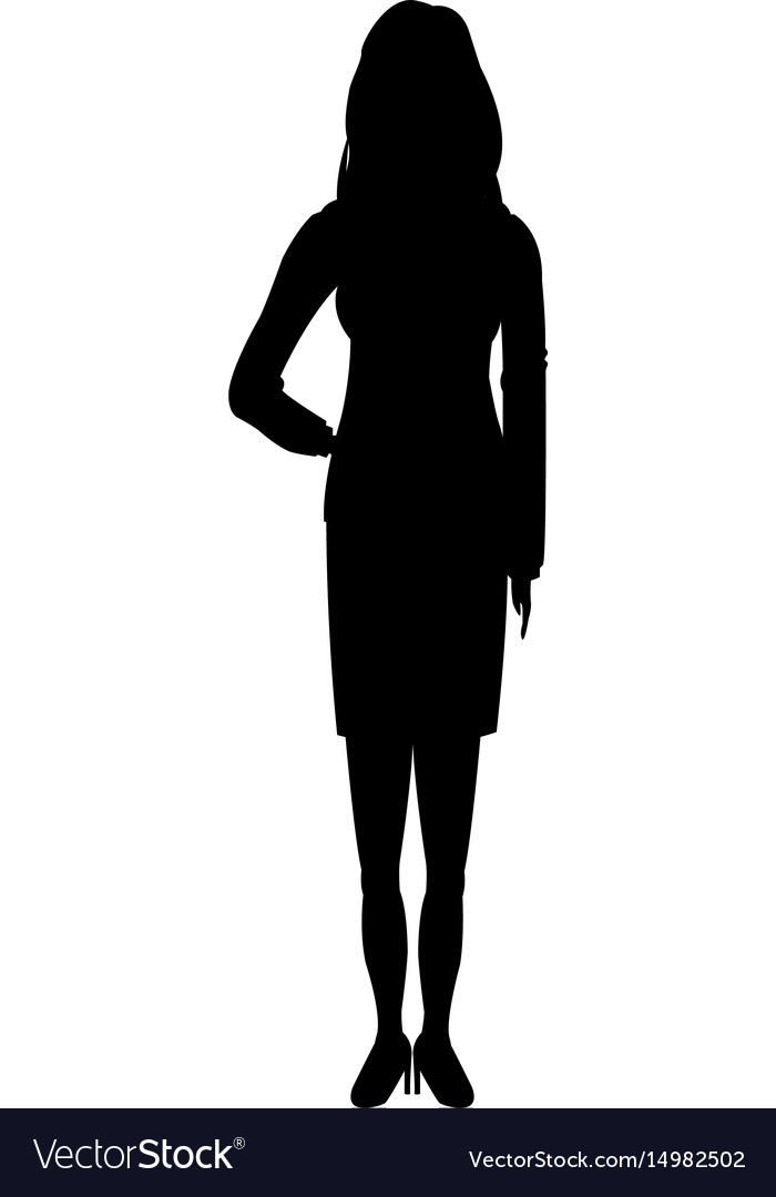 Silhouette young girl standing female vector image