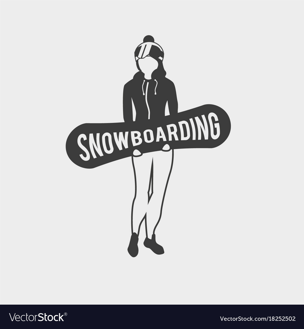 Snowboard club logo label or badge template