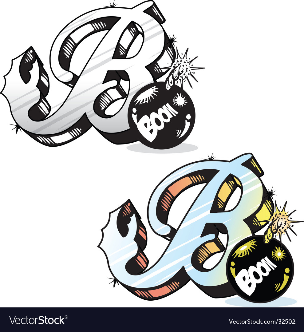 Tattoo Letter B Vector Image