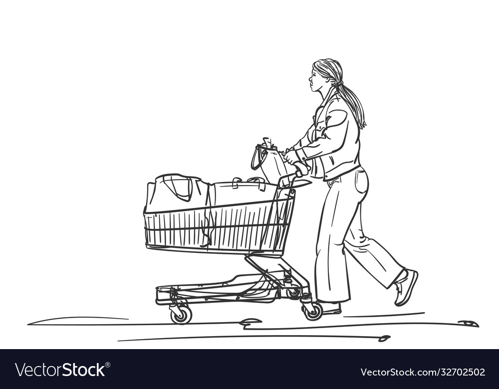 Woman with supermarket cart walking after