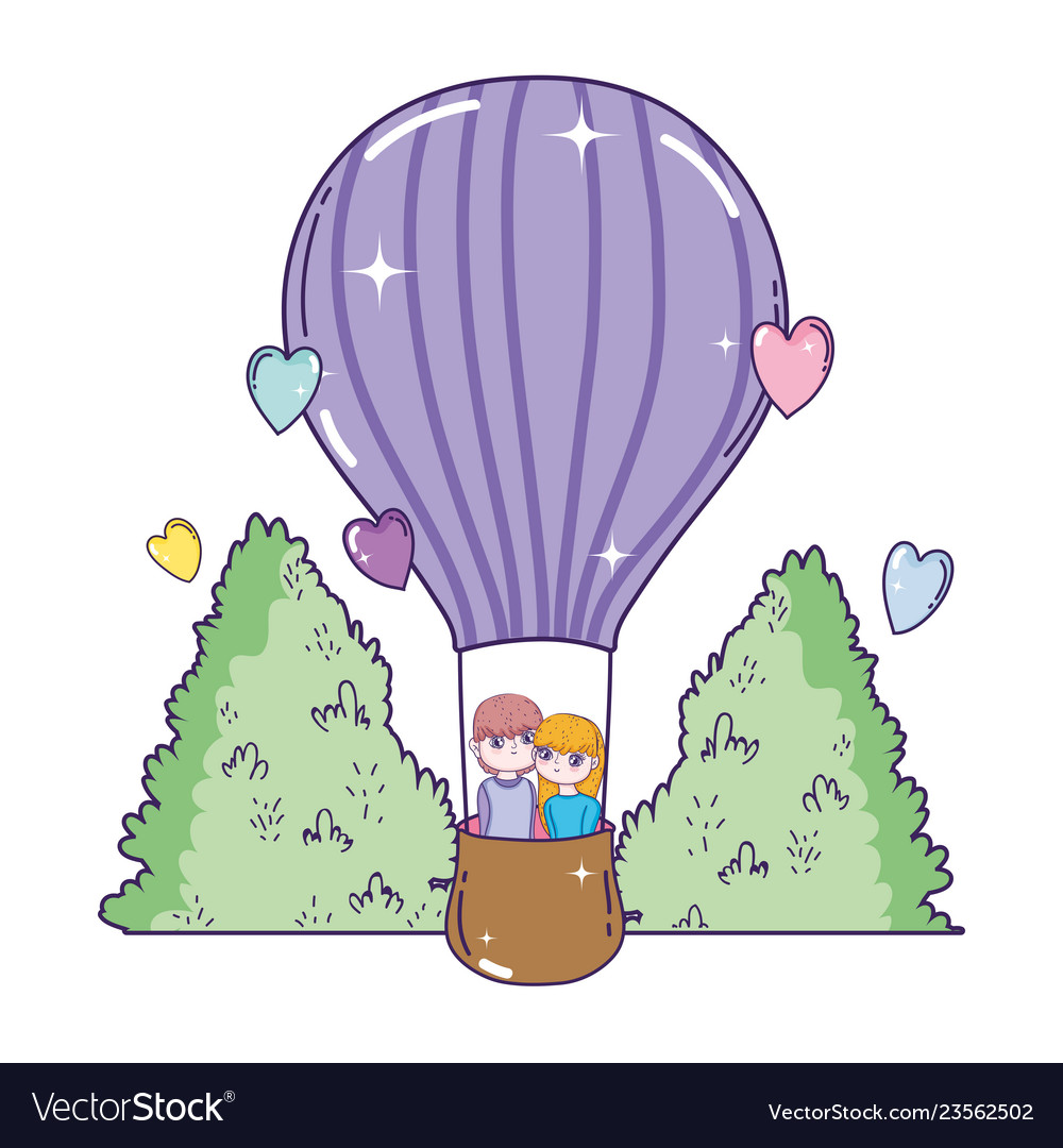 Young lovers couple flying in balloon air hot