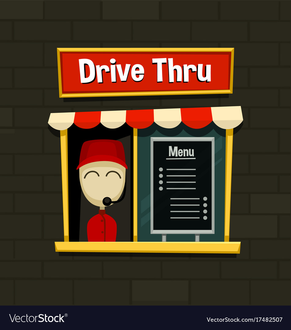 Cartoon drive thru menu board fast food business