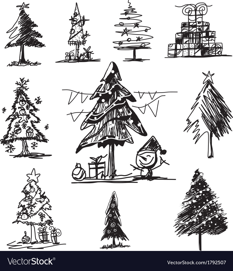 Christmas Tree Sketch On White Background Vector Image