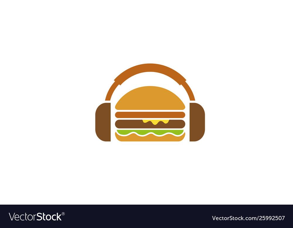 Creative burger headphone logo design symbol