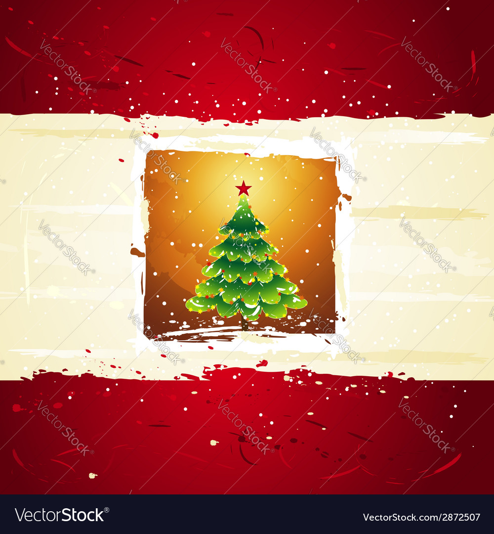 Green christmas tree over golden background vector image