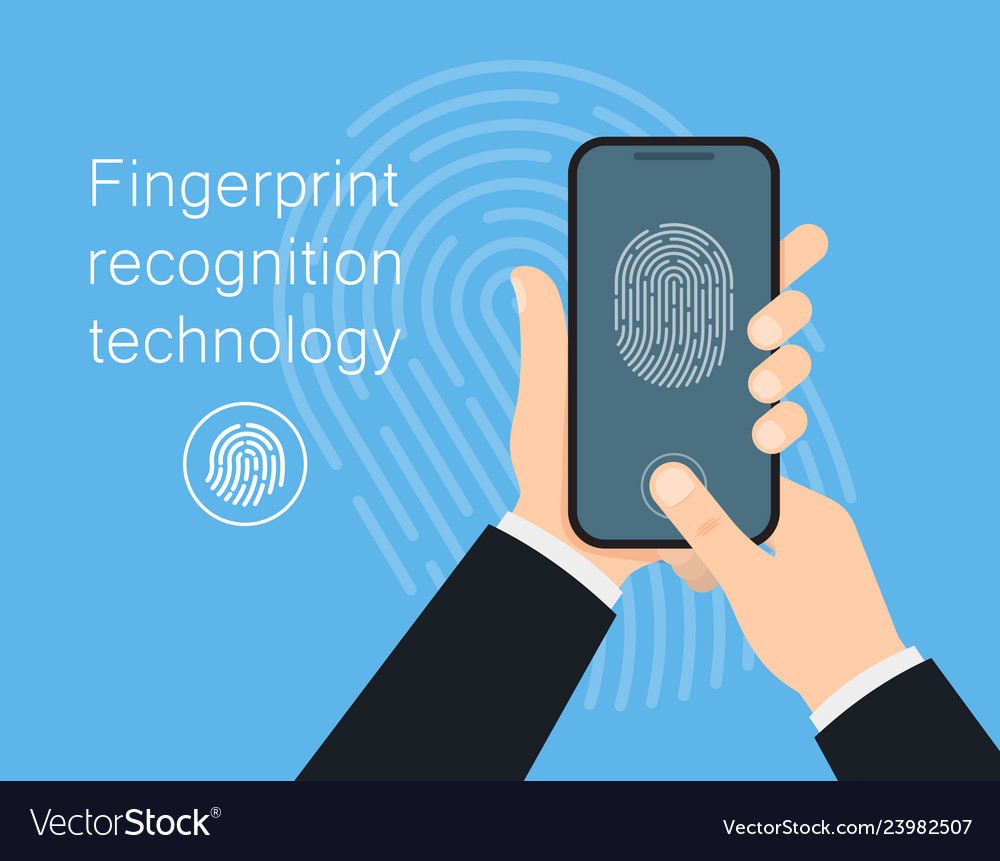Man hold mobile phone to unlock with finger