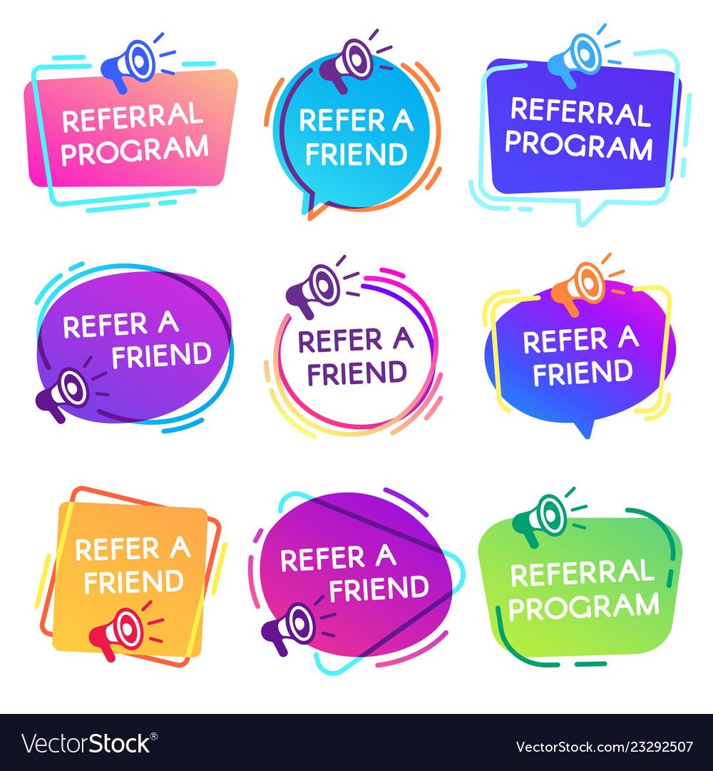 Refer friend badges referral program badge