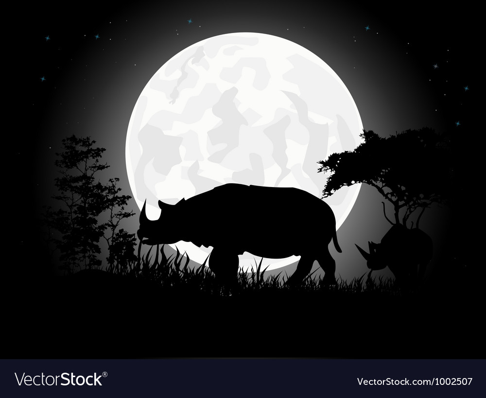 Rhino silhouettes with giant moon background