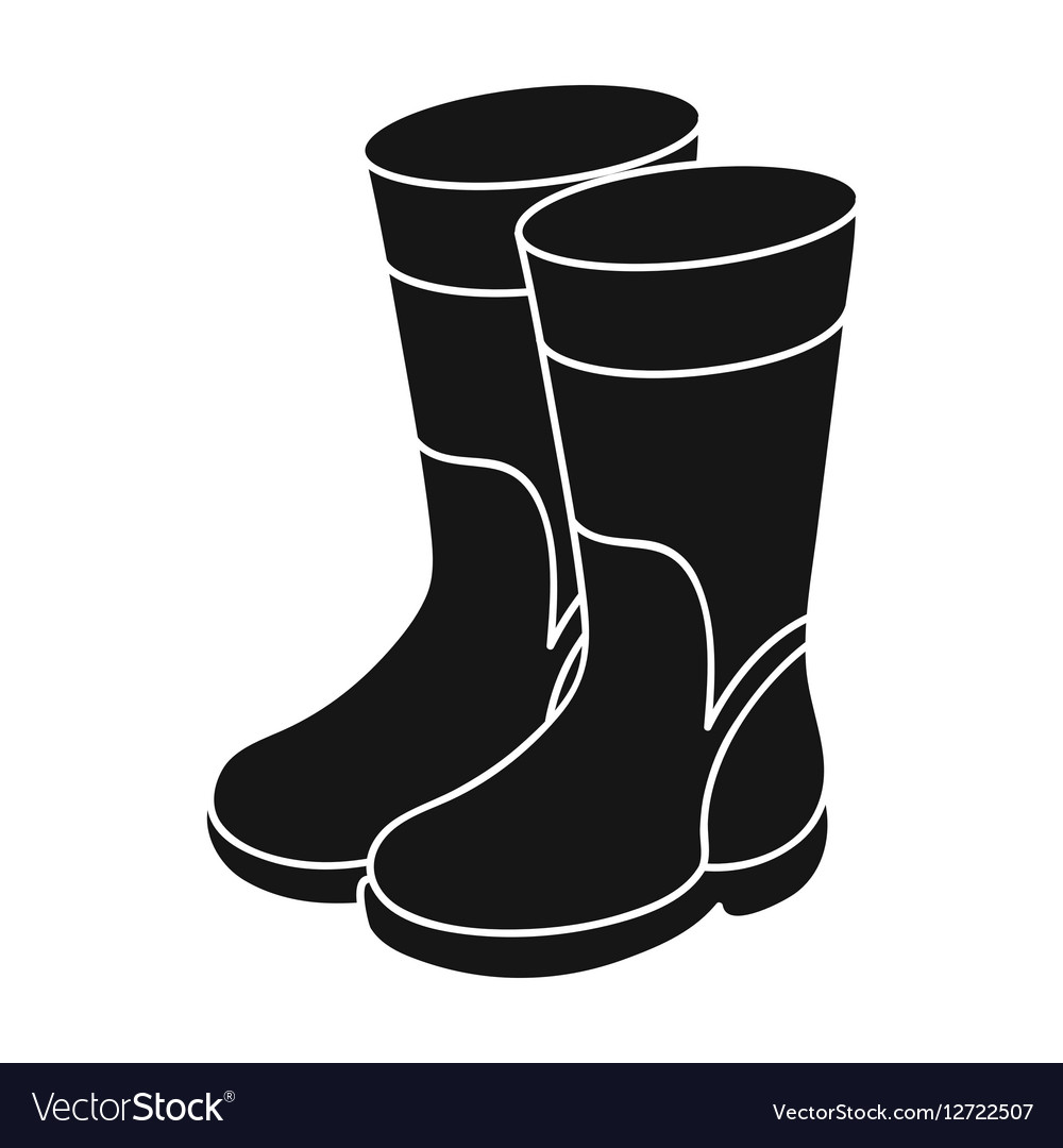 Rubber boots icon in black style isolated on white