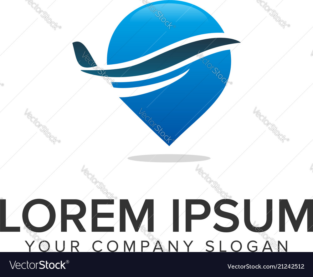 Airplane map pointer logo travel logo design
