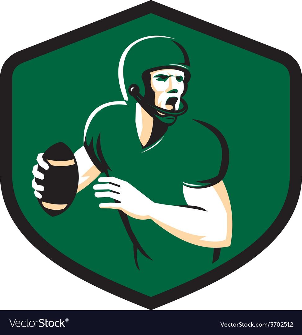 American Football Quarterback QB Shield Retro vector image