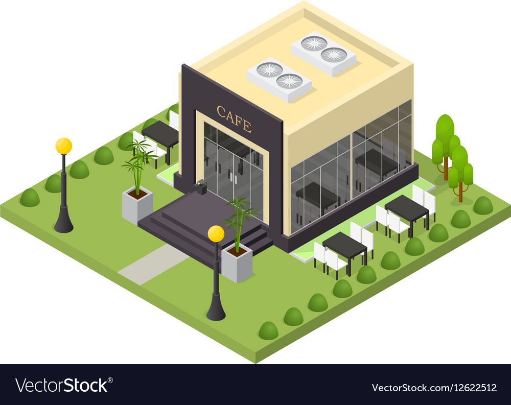Cafe Building Isometric View