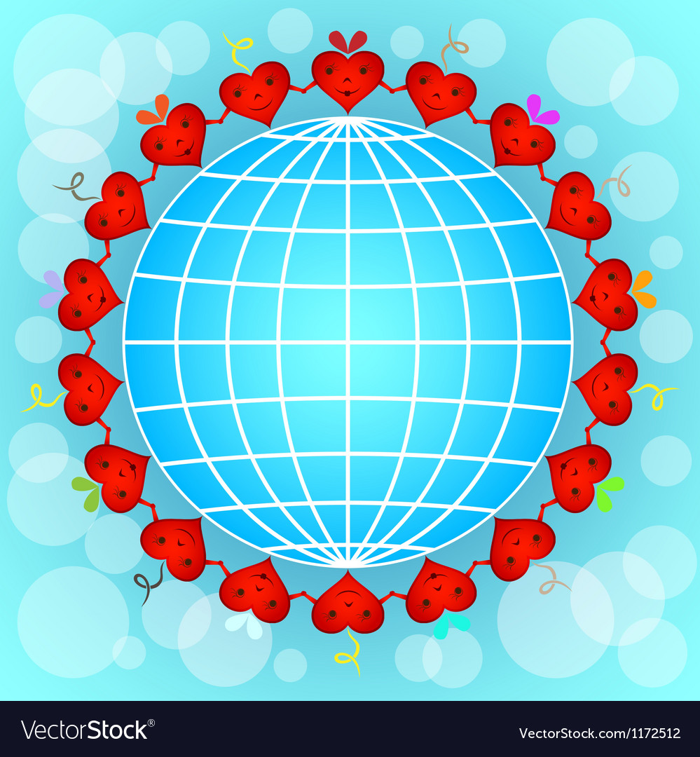 Cartoon red hearts circle around globe