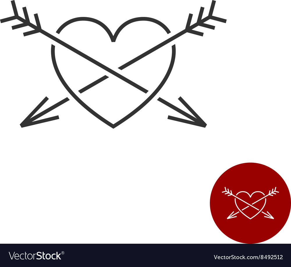 Heart with two arrows black outline style logo