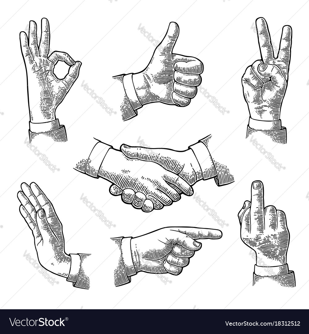 Male hand sign like handshake ok stop middle