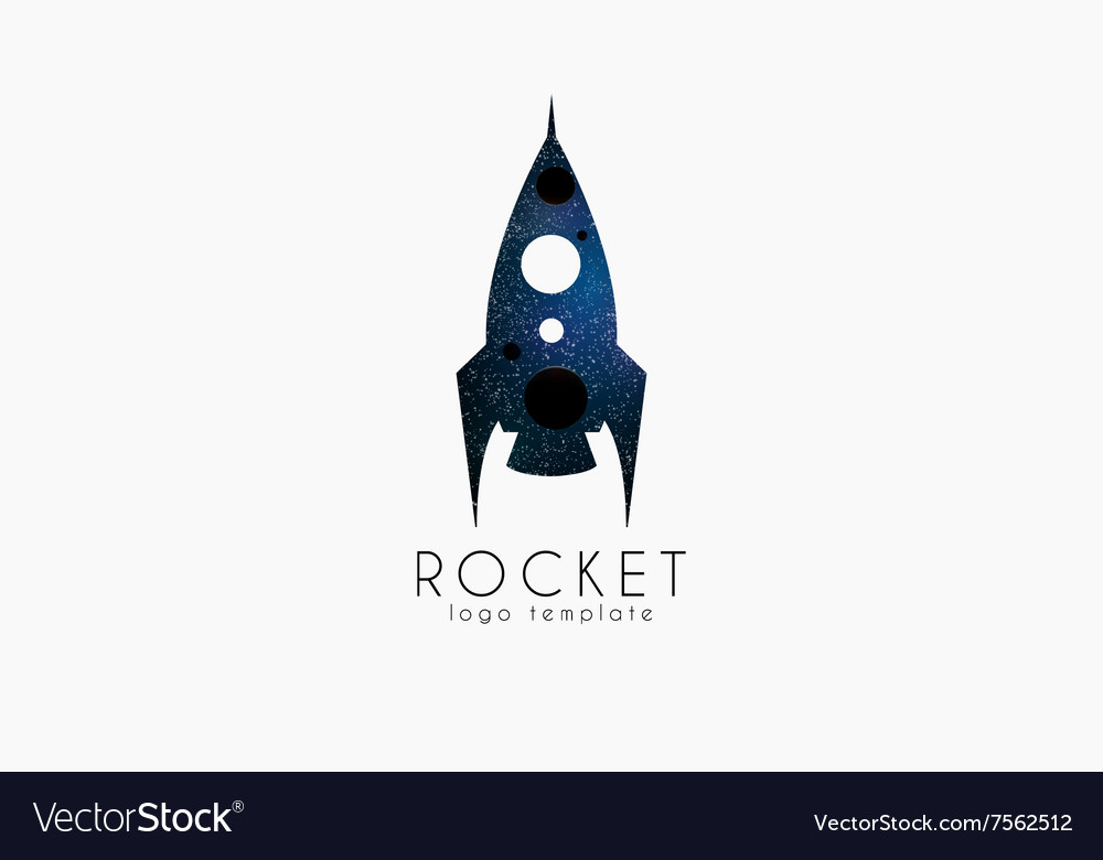Rocket logo template Cosmic logotype vector image