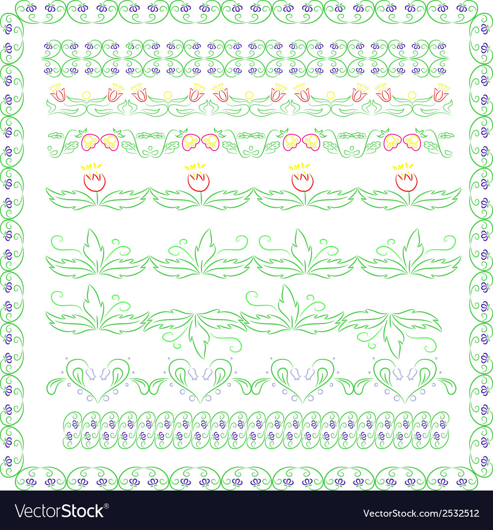 Set of colorful floral borderd vector image