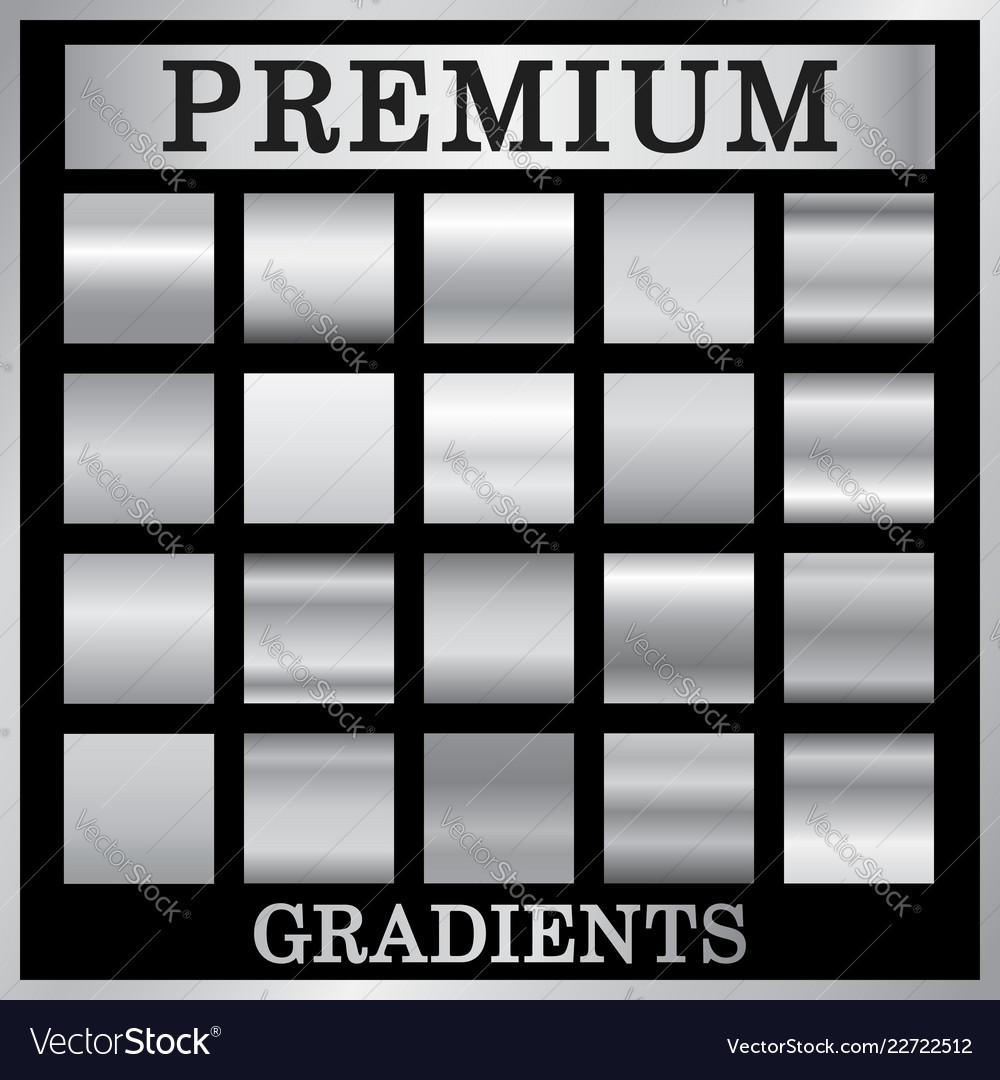 Silver gradient backgrounds set design