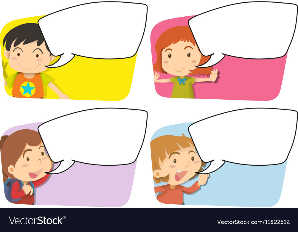 Speech bubble templates with girl and boy