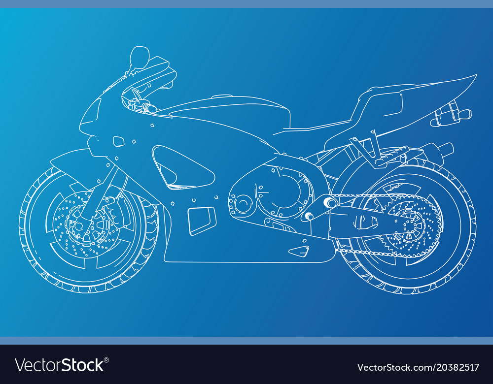 Blueprint sport bike eps10 format created vector image malvernweather Choice Image