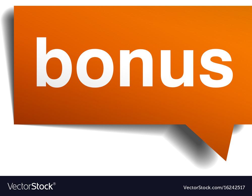 Bonus orange speech bubble isolated on white