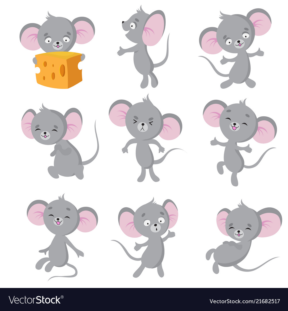 Cartoon mouse gray mice in different poses cute Vector Image