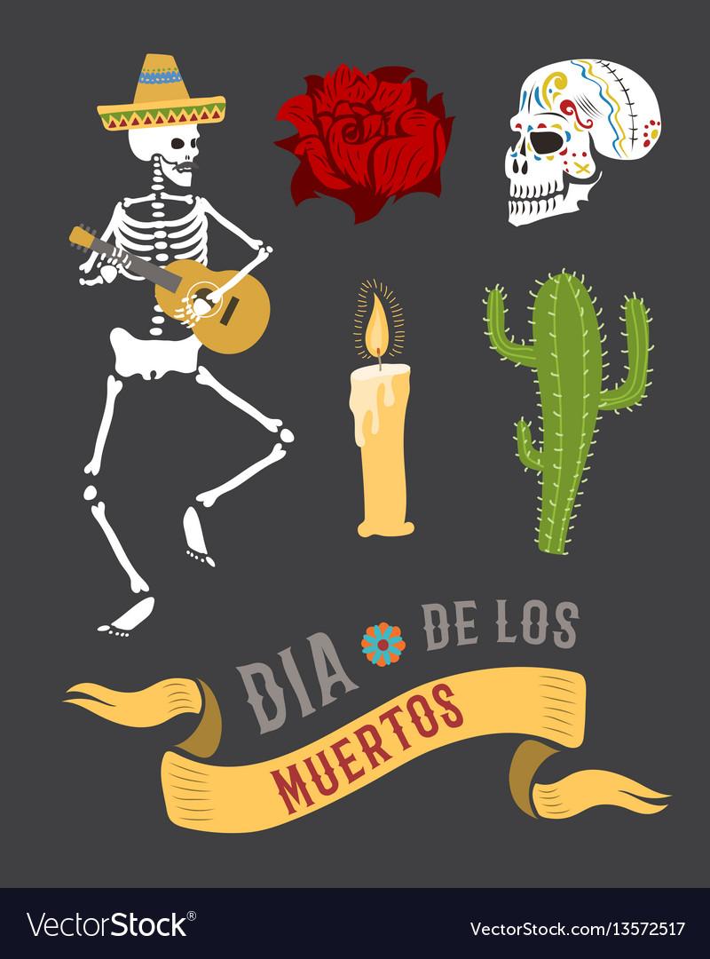 Colorful symbols for dia de los muertos day the