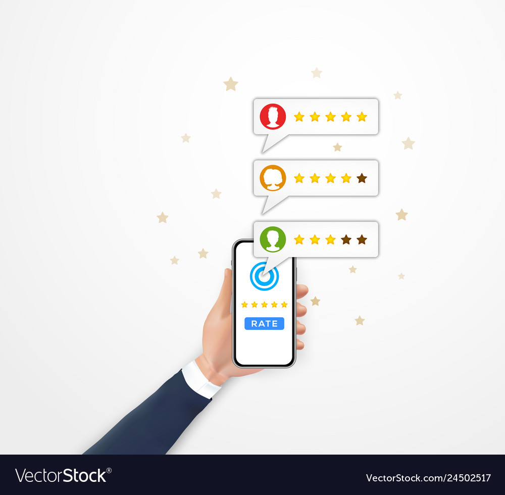 Customer review rating concept hand holding
