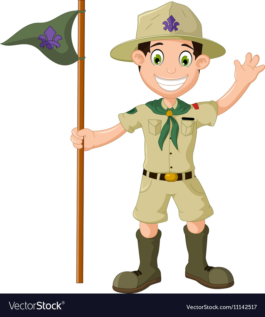 Cute boy scout cartoon holding pole yelling